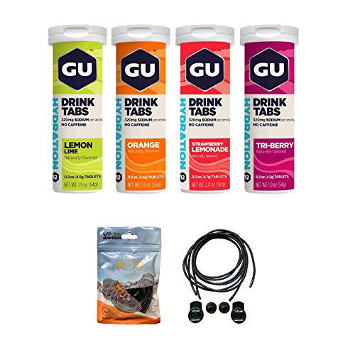 GU Hydration Drink Tabs - 4 Tubes of Electrolyte Tablets Bundled with an Exclusive Pack of Elastic No-tie Reflective Shoe Laces (48 Total Tablets)