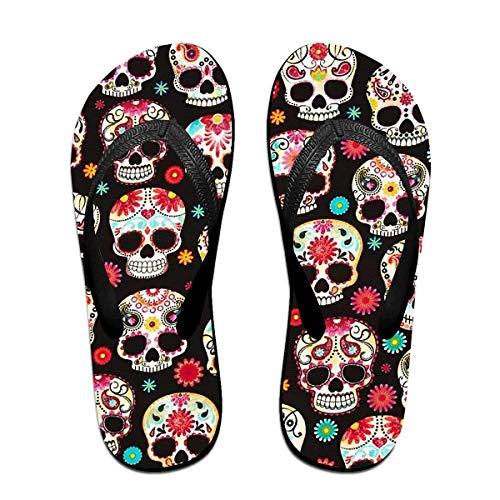 Huesos y Calaveras de Colores Unisex Adultos Chanclas Informales Sandalias Zapatillas de Fiesta en la Piscina Pisos de baño Zapatos de Diapositivas con Punta Abierta L