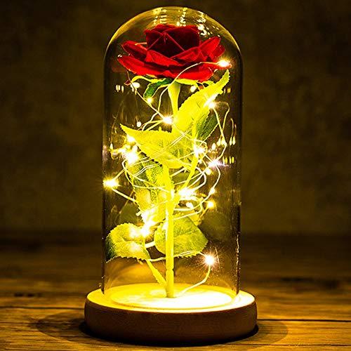 Kit de Rosas La Bella y La Bestia Rosa Encantada Rosa Eterna Rosa Rojas y Luz LED en Cúpula de Cristal en Base de Madera Regalo para Día de San Valentín Día de la Madre Aniversario Bodas Cumpleaños