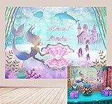 BINQOO - Fondo para fiesta de cumpleaños de 7 x 5 pies bajo el mar, diseño de sirena, para niñas, castillo, ballena y perla, fondo de pared para tarta de cumpleaños
