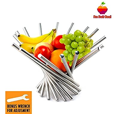 Foldable Rotation Fruit Basket, Decorative Fruit Bowl with Unique Design and Anti Rust Stainless Steel, 15 x10  Modern Fruit Stand Storage Kitchen for Orange Banana Apple Grapes, Wrench Included
