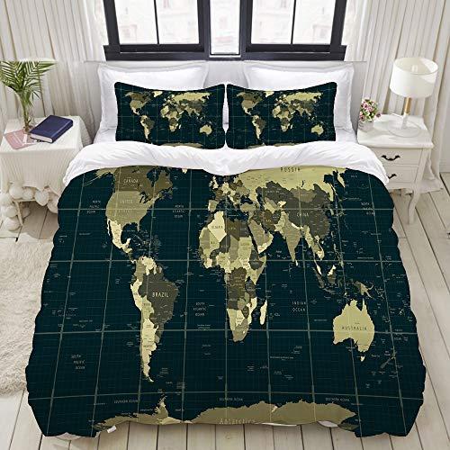 Bedding Juego de Funda de Edredón,Mapa detallado del mundo en colores de camuflaje con una cuadrícula cuadrada de nombres de países y ciudades,Funda de Nórdico y 2 Fundas de Almohada Single