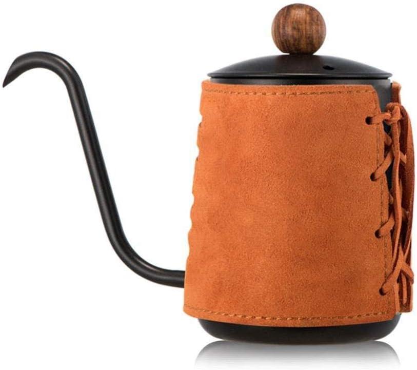 Cafetera Nuevo favorito de Barista - Verter sobre el café escaldado Hervidor Cafetera, envuelto en cuero de cuello de cisne de control de la caldera, de la cocina casera, café, naranja, 300ML Para el