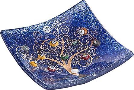 SOSPIRI VENEZIA Placa DE Cristal Murano Cuadrado Árbol de la Vida 15 x 15 cm, técnica de fusión de Vidrio y Uso de Decoraciones de Murano. En su Elegante Caja litografiada. Made in Venice, Italy