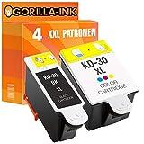 Gorilla-Ink 4 Tinten-Patronen XXL als Ersatz für Kodak 30XL   Für Kodak ESP 1.2 3.2 C110 C115 C310 C315 C330 C360 Office 2150 2170 Hero 3.1 5.1