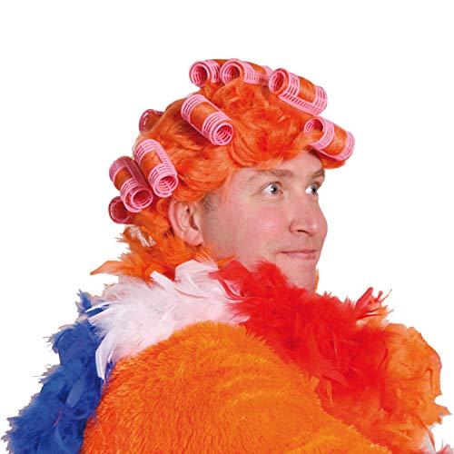 Folat 30475 oranje pruik met krulspelden, volwassenen, oranje