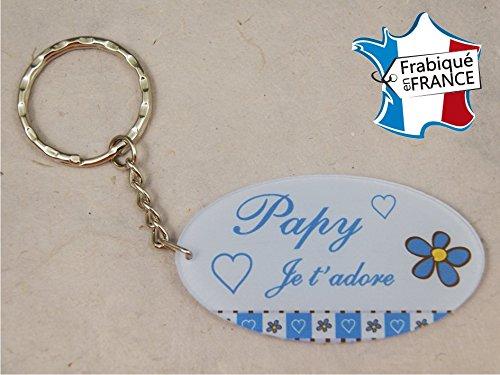 Porte Clef - Papy je t'adore (Cadeau fête des grands pères, anniversaire, noël pour papi, annonce de naissance .)