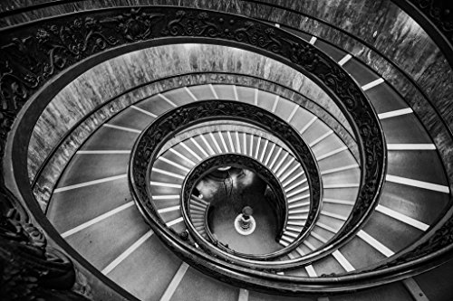 Bramante Staircase Vatican Museum Spiral Staircase Black and White Photo Cool Wall Decor Art Print Poster 36x24