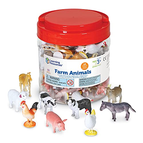 Product Image of the Learning Resources Farm Animal Counters, 10 Different Animals, Set of 60, Ages...