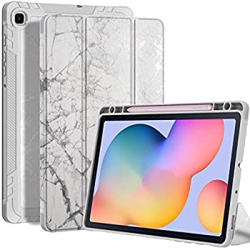 UMIONE for Samsung Galaxy Tab S6 Lite Tablet Case 10.4  2020 Case(Model SM-P610/P615) White Marble Slim Full Body Stand Protection Case with Pencil Holder & Auto Wake/Sleep  White