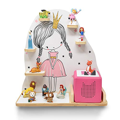 stadtecken Kinder Regal für Musikbox I Motiv Mini Prinzessin I Geeignet für die Toniebox und ca. 20 Tonies I Geschenk I Geschenkidee I Spielen I Sammeln I Aufstellen oder Aufhängen