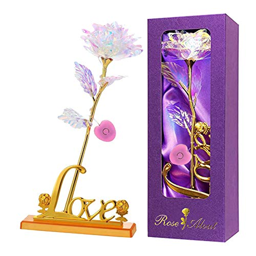 Colorful Artificial Rose Flower Present 24K Golden Foil with LED Love Base Stand Unique Gifts for Her Girlfriend Wife Women Mother's Day Valentine's Day Holiday Party Wedding Anniversary (Love Base)