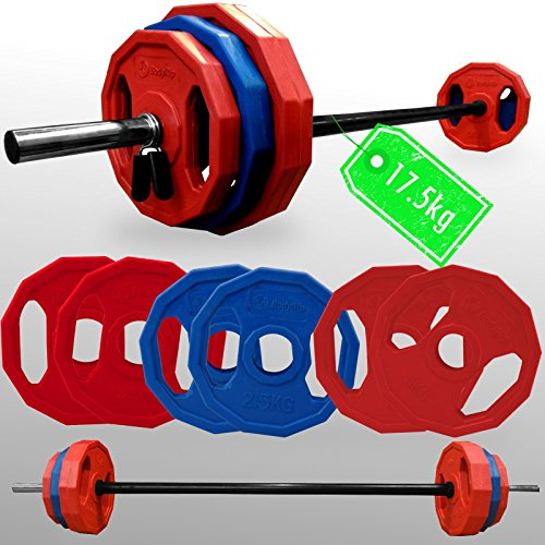 BodyRip PREMIUM PRO Barbell Sets (Olympic or Standard or Studio Bar)   Polygonal Weight Plates   Curl, Press, Pullover   Strength Training, Home Gym, Fitness Exercise, Weight Lifting, Fat Loss, Crossfit, Calisthenics (Pump Set 17.5kg)