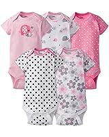 GERBER Baby Girls' 5-Pack Variety Onesies Bodysuits, Elephants/Flowers, 3-6 Months
