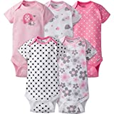 GERBER Baby Girls' 5-Pack Variety Onesies Bodysuits, Elephants/Flowers, 0-3 Months