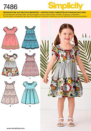 Simplicity Schnittmuster 7486 A Kleider für Kinder Gr. 3-8
