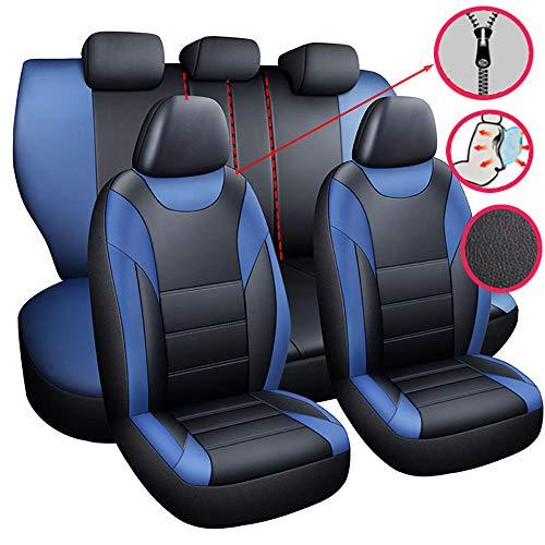 Chemu – Fundas de asiento de coche, color azul, de piel, juego de fundas universales para los asientos delanteros y traseros, de piel sintética, para Peugeot 308 407 508 2008 508sw