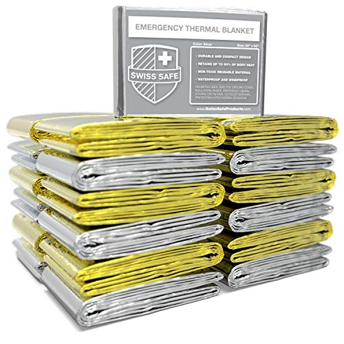 Emergency Mylar Thermal Blankets (BULK 30-Pack) - Designed for NASA, Outdoors, Hiking, Survival, Marathons or First Aid (Silver Gold)