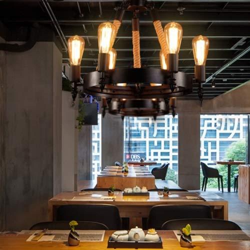 Yjdr Retro estilo industrial sala de estar Luz de restaurante Iluminación creativa American Bar Internet Cafe Café Decoración de la decoración Cuerda de cáñamo Lámpara de araña, altura ajustable 1 met