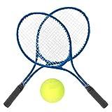 DaMohony Raqueta de Tenis Raqueta de Tenis Raqueta de Tenis de Entrenamiento Duradera para Adultos Adolescentes Principiantes Incluye Pelota Y Bolsa de Transporte. (Azul)