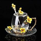 ERTERT Nueva Taza de la Taza de Vidrio de Esmalte para la Flor de café Taza de té Tazas con Cuchara para la Cucharada Transporte de Bebidas Perfecto Regalo de Boda para el Verano Taza de té