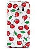 Inspired Cases - 3D Textured Galaxy S6 Case - Rubber Bumper Cover - Protective Phone Case for Samsung Galaxy S6 - Cherry Pattern - White