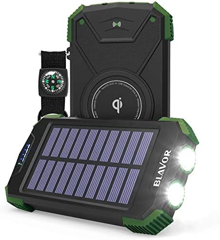 Solar Power Bank Qi Certified Wireless Charger Portable External Battery Pack Type C Input Port product image