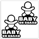 SkinoEu® 2 Stück Vinyl Aufkleber Autoaufkleber Stickers Baby On Board Kind Sicherheit Auto Motorrad Fahrrad Fenster Tür B 164