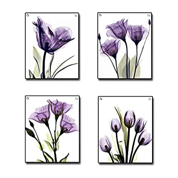 4 Piece Flag Tapestry Purple Tulip Flower Canvas Wall Decor Painting Hanging Poster Tapestries with Rustproof Grommets Seamless Nails Ready to Hang for Home Decoration  12 x16