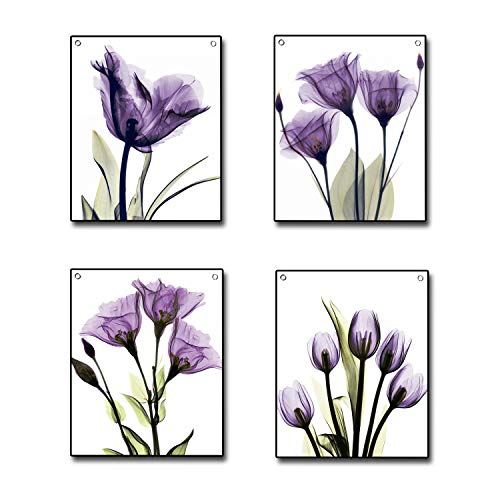 4 Piece Flag Tapestry, Elegant Purple Tulip Flower Canvas Wall Decor Painting Hanging Poster Tapestries with Rustproof Grommets, Seamless Nails Ready to Hang for Home Decoration (12'x16')