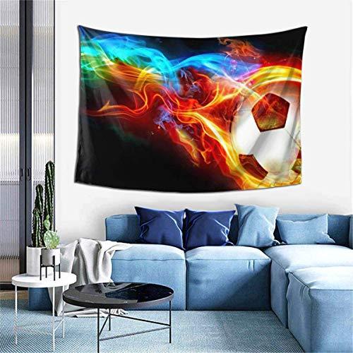 Tapiz para colgar en la pared, diseño de rueda de fútbol de fuego, decoración para dormitorio, sala de estar, dormitorio de 152 x 100 cm