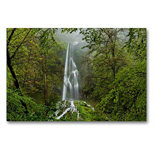 CALVENDO Premium Textil-Leinwand 90 x 60 cm Quer-Format Wasserfall Bad Urach, Leinwanddruck von Wolfgang Trust