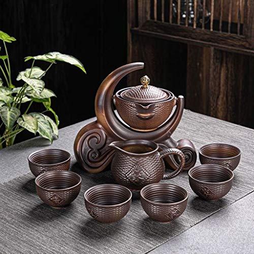 CJTMY Juego de té semiautomáutico de molienda de Piedra de cerámica, té Creativo de Kung fu del Juego de té Creativo Ceremonia de té Suministros