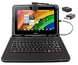 DURAGADGET Etui aspect cuir noir + clavier intégré AZERTY (français) pour tablettes Acer Iconia Tab A700 / W700 et...