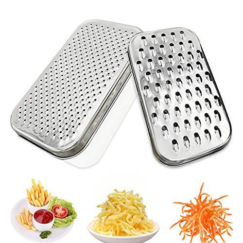 Rallador de verduras multifuncional con rallador de queso con recipiente para pelar y rallar verduras, frutas, queso (Cuadrado Blanco)