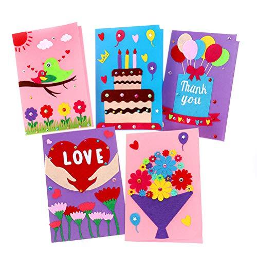 Supvox Kit de fabricación de tarjetas de 5 piezas tarjeta de felicitación hecha a mano de bricolaje para niños, tarjetas de navidad tarjetas plegadas para cumpleaños, navidad, aniversarios