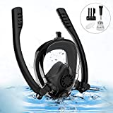 Sanlinkee Full Face Snorkel Mask,Seaview 180° Double Adjustable Longer Ventilation Pipe, with Detachable Camera Mount,Watertight, Anti Fog & Anti Leak Technology, for Adults & Kids (Black, Large)