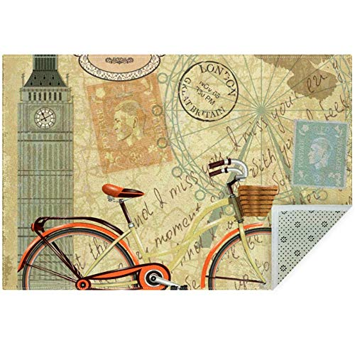 LORVIES London - Alfombra antideslizante para salón o dormitorio, 59 x 39 pulgadas, poliéster, multicolor, 160x120cm/63x47in