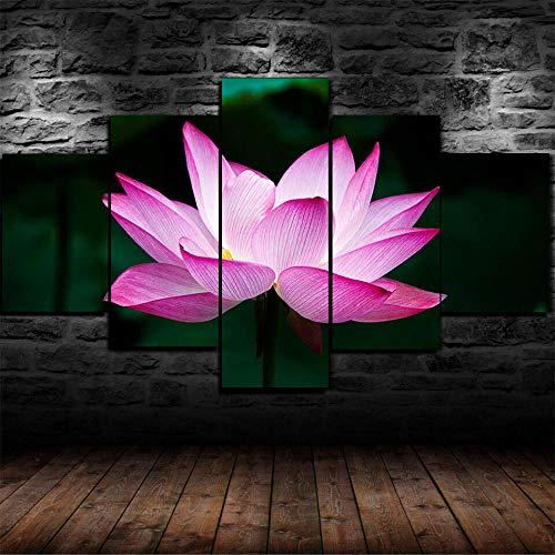 5 Piece Canvas Lotus Shiny Art Print Impresión De...