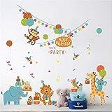 Etiqueta de la pared Animales de la selva Mono Tigre Cartón Fiesta de cumpleaños Decoración Decorativa Etiqueta de la pared del cuarto de niños Bebé Niños Dormitorio Decoración para el hogar Calc