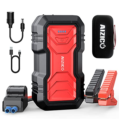 AIZICO Portable Car Jump Starter, 2500A Peak 22800mAh Battery Booster for Cars, Trucks and SUV(Up to 8L Gas/Diesel Engine), 12V Auto Battery Jump Pack with Type-C, USB Quick Charge 3.0 and LED Light