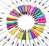 xinfe Colori Brush Pen, 36 Pezzi Pennarelli Acquarelli Doppio Punta Pennarelli da Disegno ...