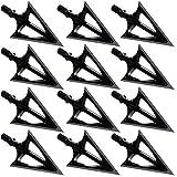 LightingU Black Archery Broadheads 100 Grain Fixed Blades Stainless Steel Hunting Broadheads for...