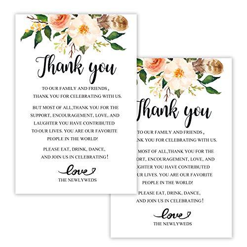Antgiftshop 50 florale Hochzeits-Dankeskarten für Gastgeschenke, Tischschild, Menükarten, Platzkarten, Dankeskarten, Hochzeitsdekorationen,