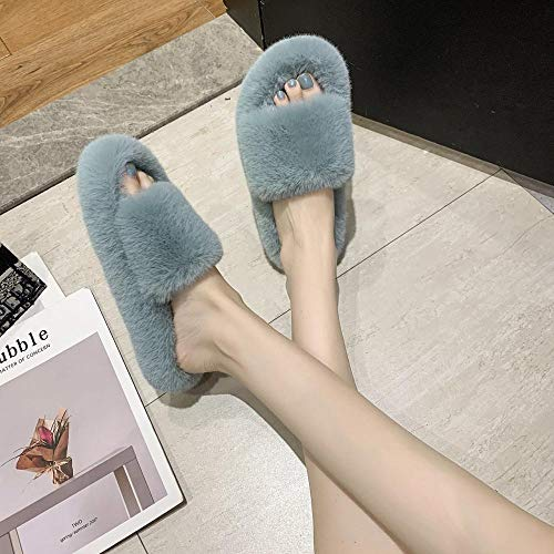 Slippers Caliente Pantuflas Antideslizantes,Outer Slippers, Indoor Flat-Bottomed Cotton Slippers-Light Blue_39,Pantuflas Ultraligero Cómodo y Antideslizante
