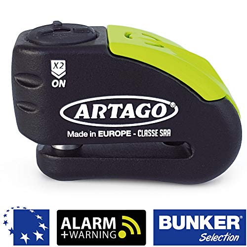 Artago 30X14 Candado Antirrobo Disco con Alarma + Warning 120 dB Alta Gama, ø14 Doble Cierre, Homologado Sra y Sold Secure Gold, Bunker Selection, Negro/Amarillo, 14 mm