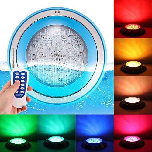 Abedoe Zwembadlamp, 24 leds, RGB-lichtjes, meerkleurig, 12 V, 24 W, met RGB-afstandsbediening, buitenverlichting, waterdichte onderwaterverlichting, zwembad-wandlampen free RGB meerkleurige afstandsbediening AC12V-15W patch