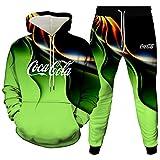 Woakzhe Chándal para hombre Co.ca Co-la con capucha, diseño de lazo en 3D, sudadera con capucha y pantalones deportivos (tallas XXX)