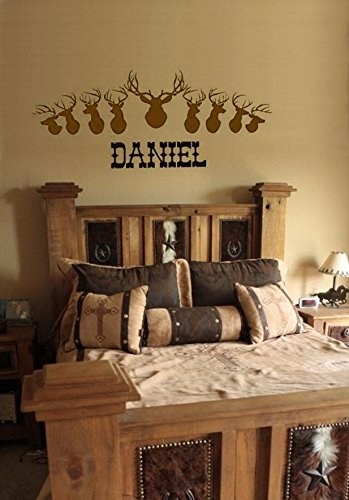 Family Name Decal Sign Lodge Decor Hunting Decor Buck Art Wall Decal EST Deer Personalized Name Decal Antlers Established Sign