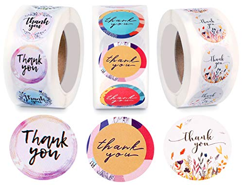 1500 Pieces Thank You Purchase Stickers Labels 1 Inch Thank You Roll Labels Thank You for Supporting My Small Business Stickers Holographic Rose Gold Black for Business Stores, 3 Rolls